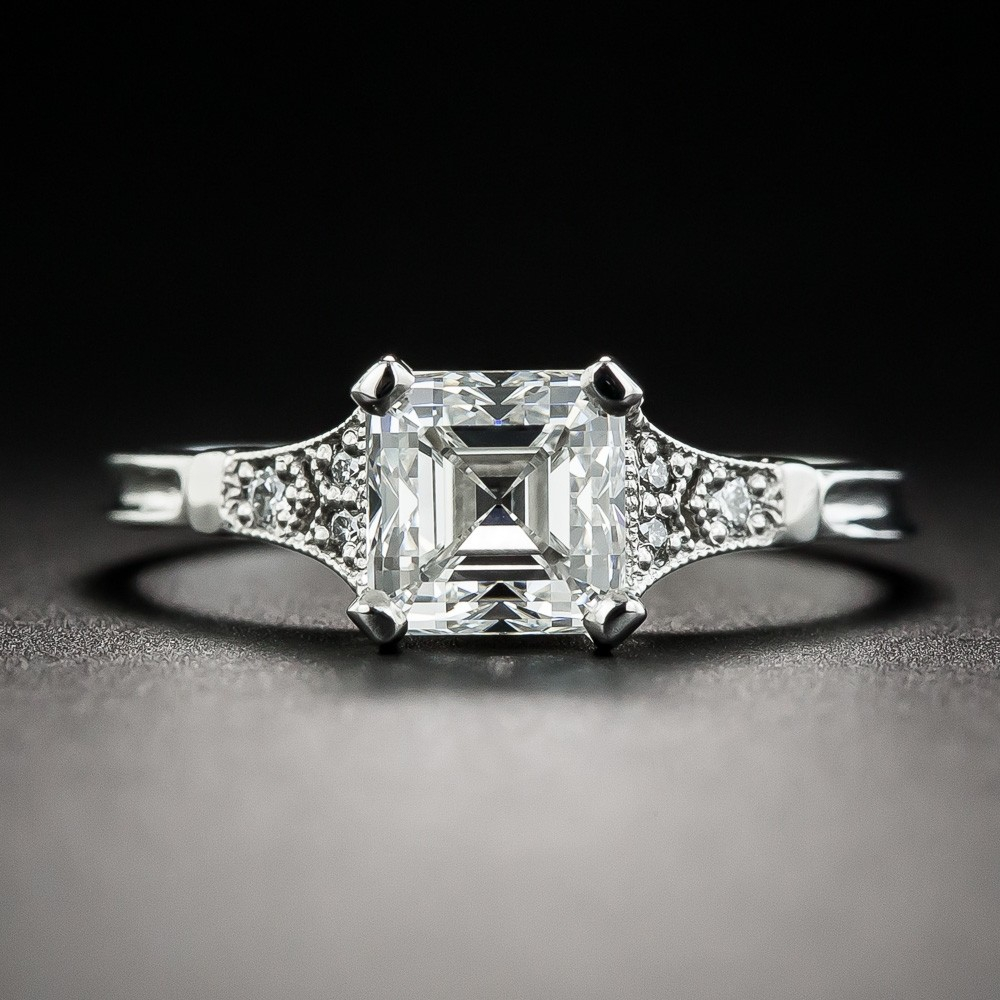 1.39 Carat Square Emerald-Cut Diamond Ring