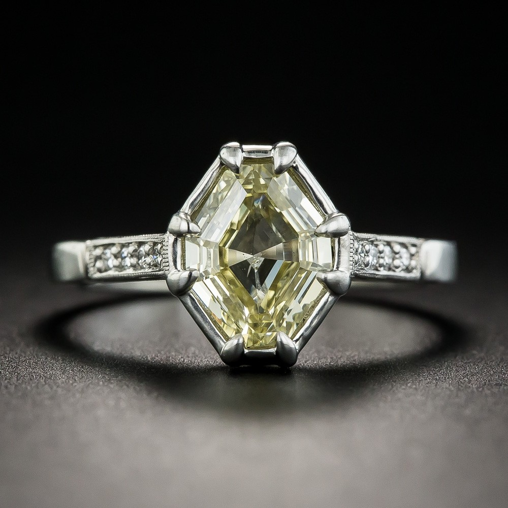1.51 Carat Natural Fancy Yellow Octagonal Diamond Ring