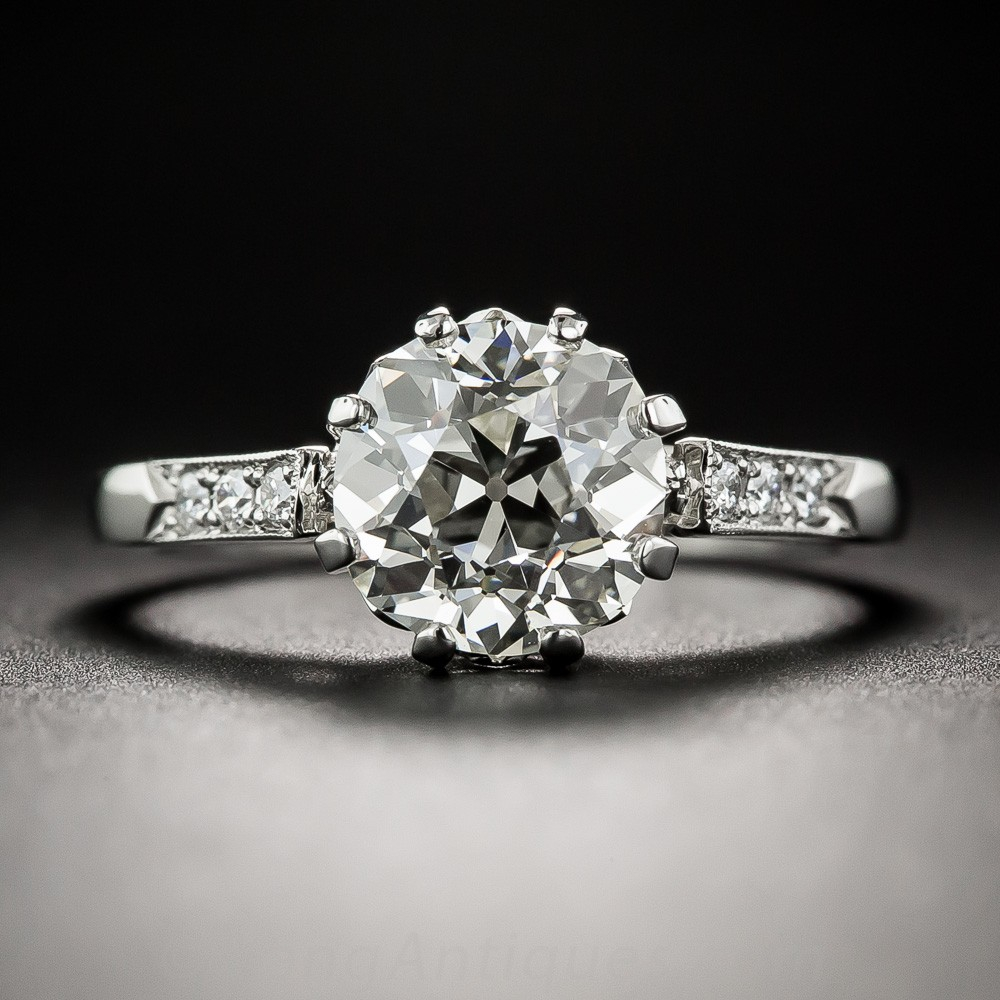 2.03 Carat European-Cut Diamond and Platinum Engagement Ring