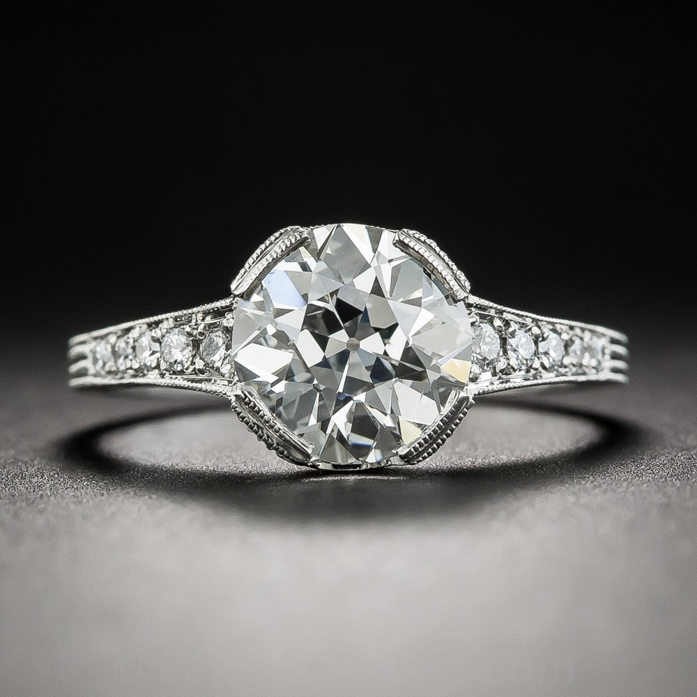 2.04 Carat European-Cut Diamond Vintage Style Engagement Ring