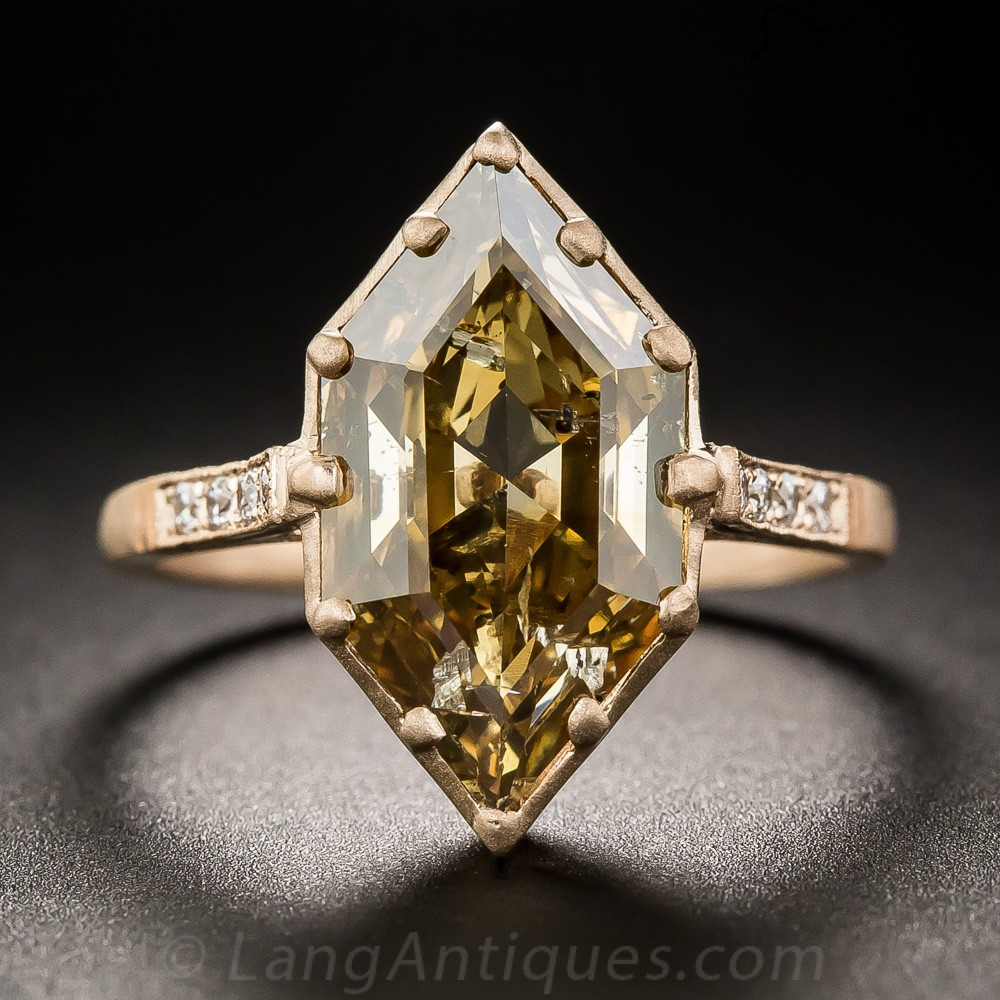 3.43 Carat Natural Brown Hexagonal Diamond Ring