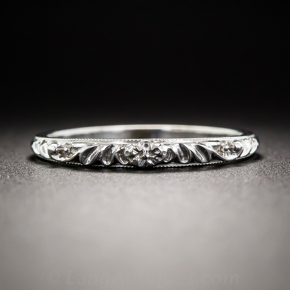 Raised Floral Motif Wedding Band