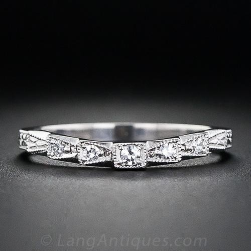 Vintage-Style Contoured Diamond Wedding Band