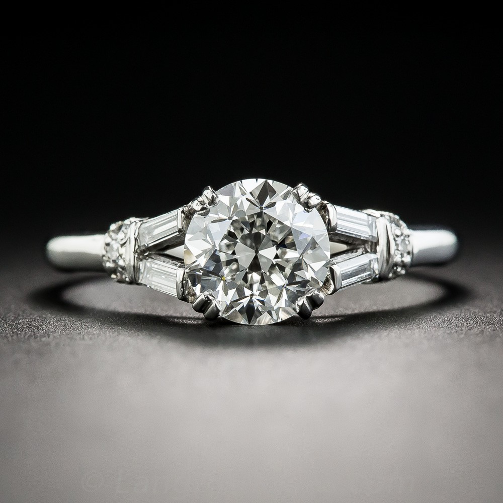 1.55 Carat Diamond and Palladium Vintage Engagement Ring