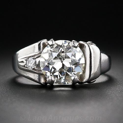 2.25 Carat Retro Diamond and Palladium Engagement Ring