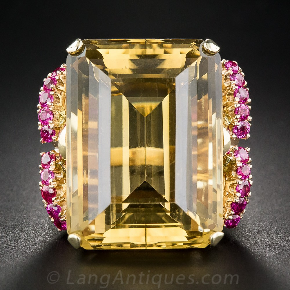 Giant Retro Citrine and Ruby Ring