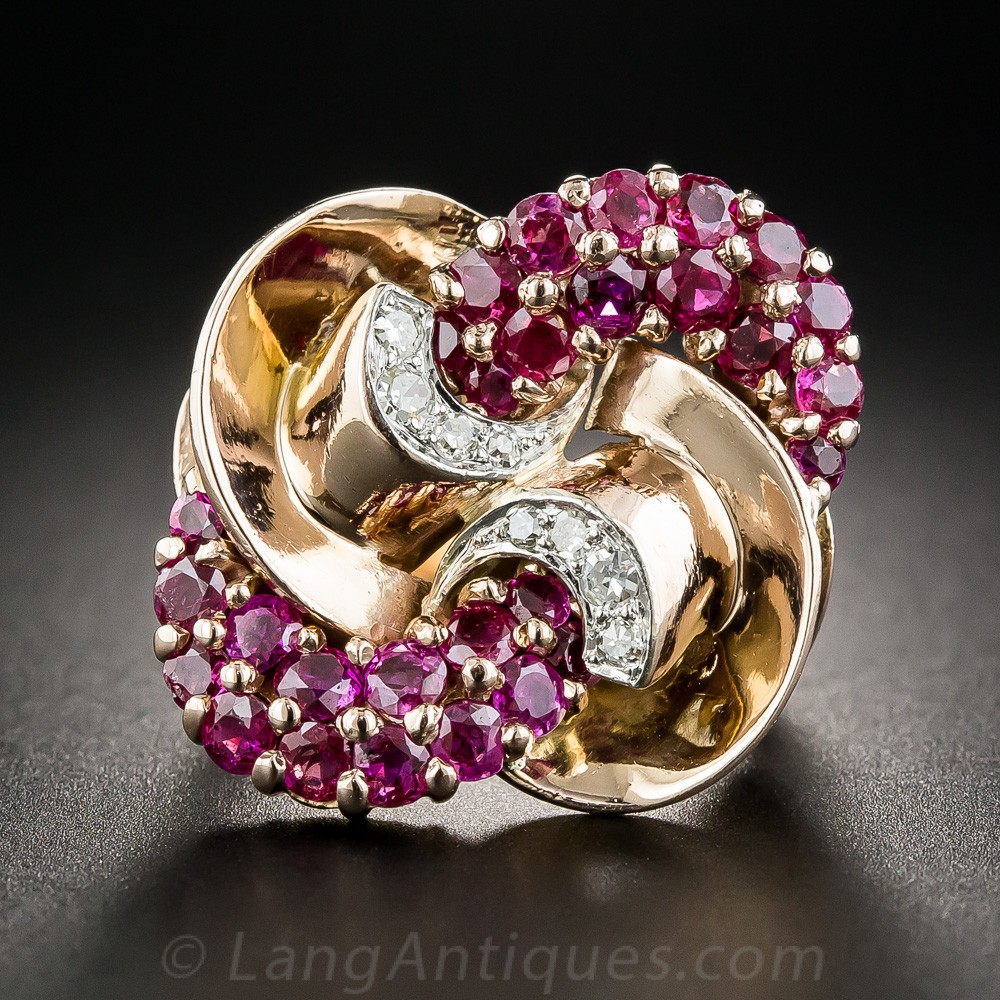 Large Retro Ruby and Diamond Ring