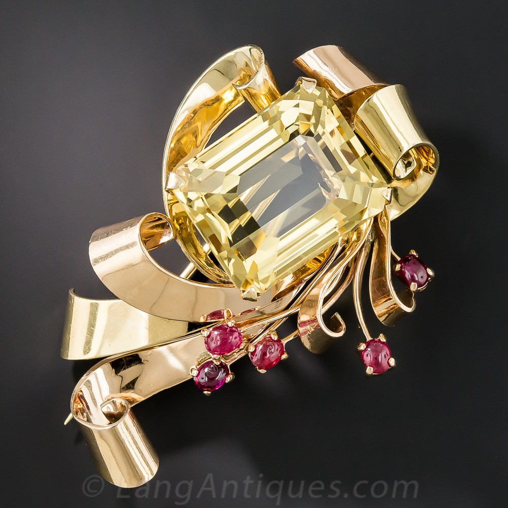Large Retro Two-Tone Citrine and Ruby Brooch
