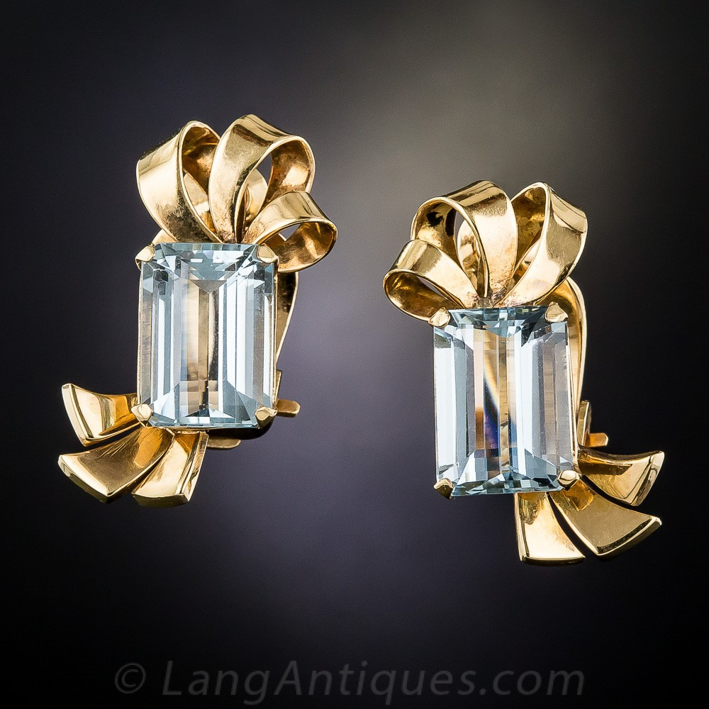 Retro Aquamarine Clip Earrings