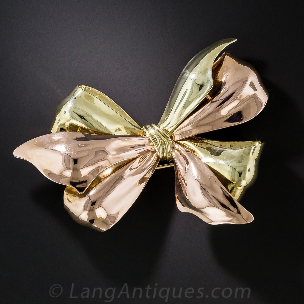 Retro Two-Tone Gold Bow Brooch