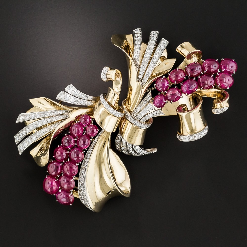 Trabert & Hoeffer – Maubossin Retro Ruby and Diamond Double Clip Brooch