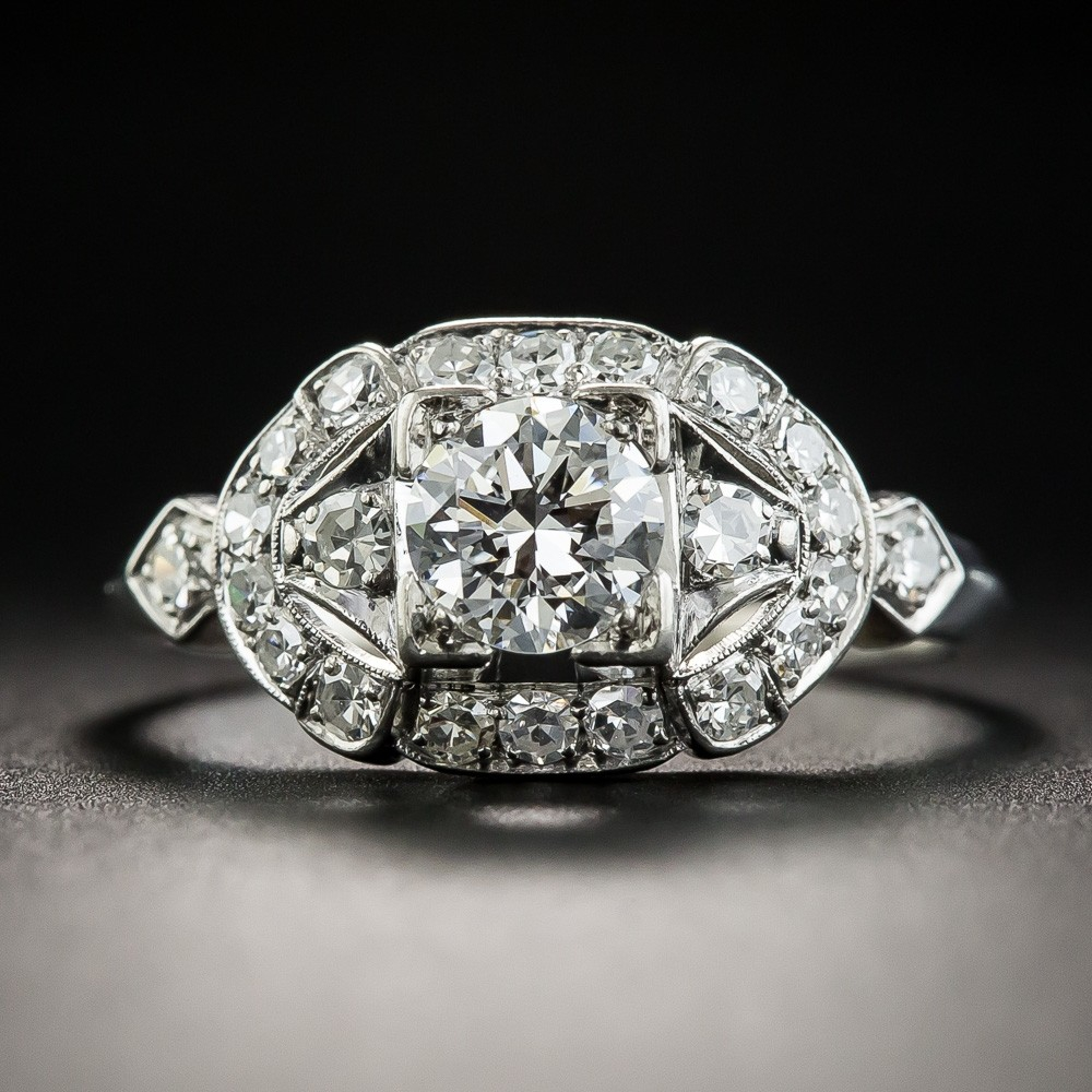Vintage .58 Carat Diamond and Palladium Engagement Ring by Loretz & Benoit