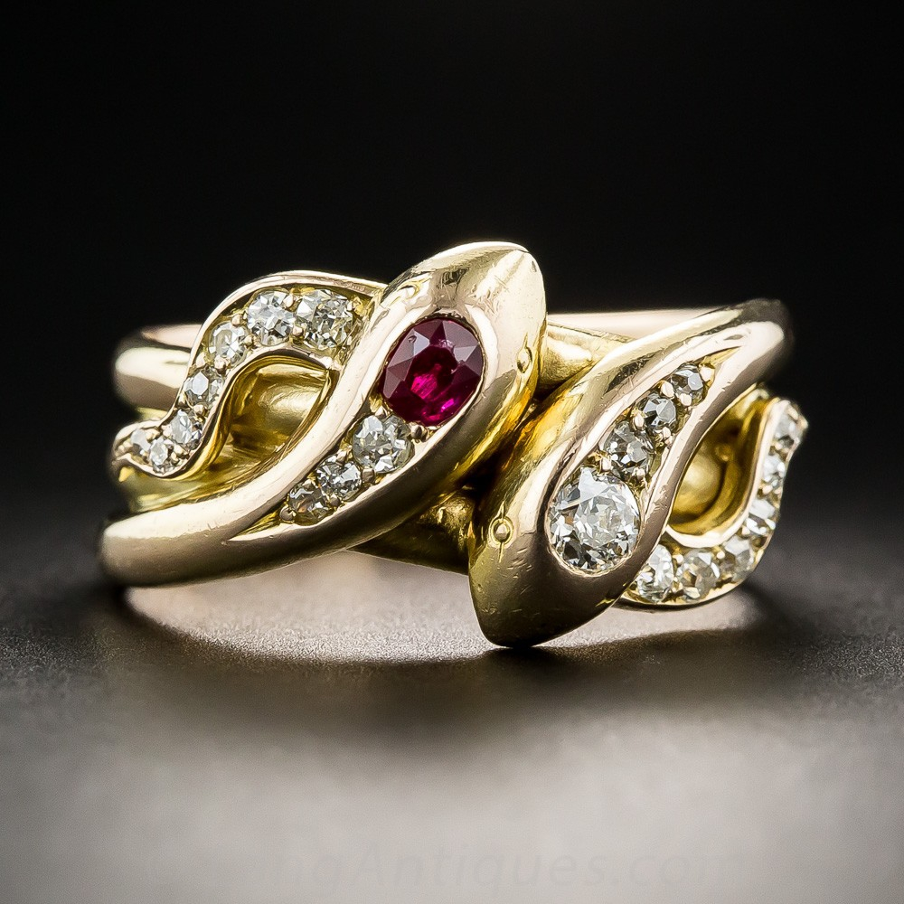 Antique Diamond and Ruby Double Snake Ring