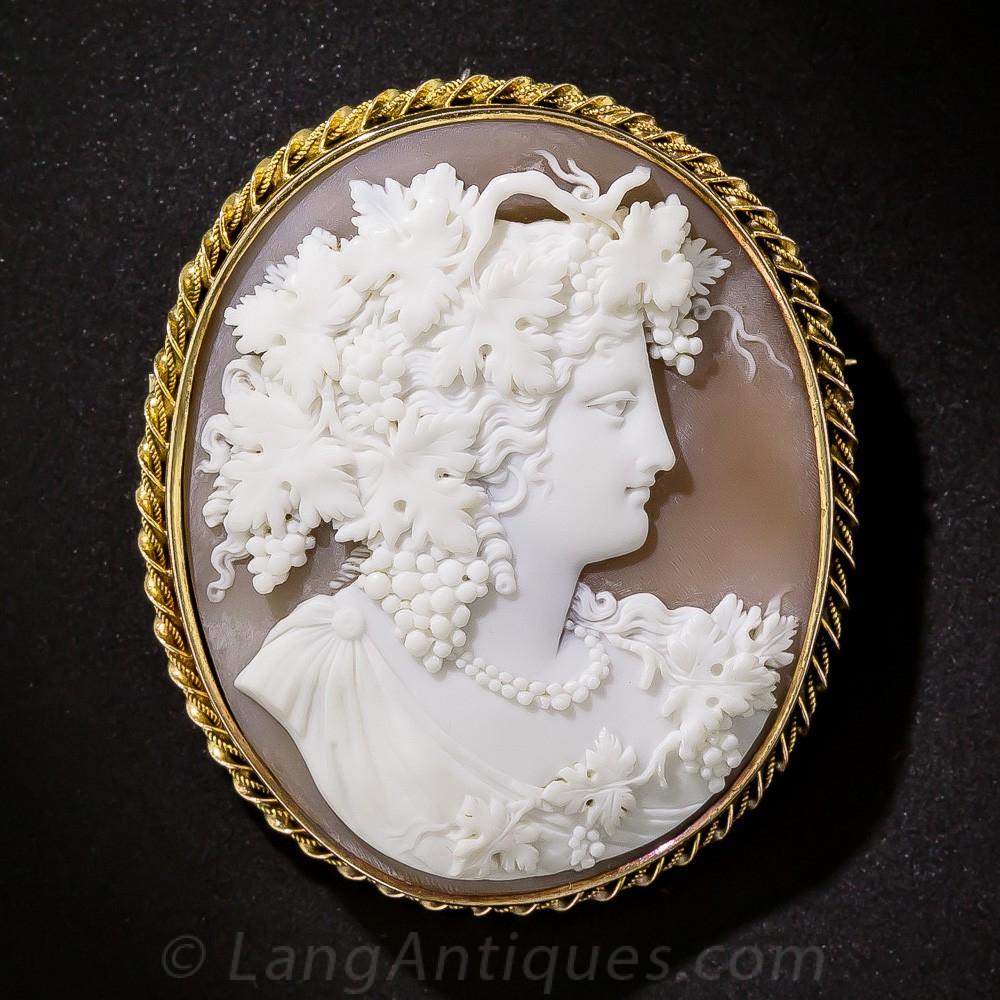 Mid-19th Century Bacchante Cameo Brooch