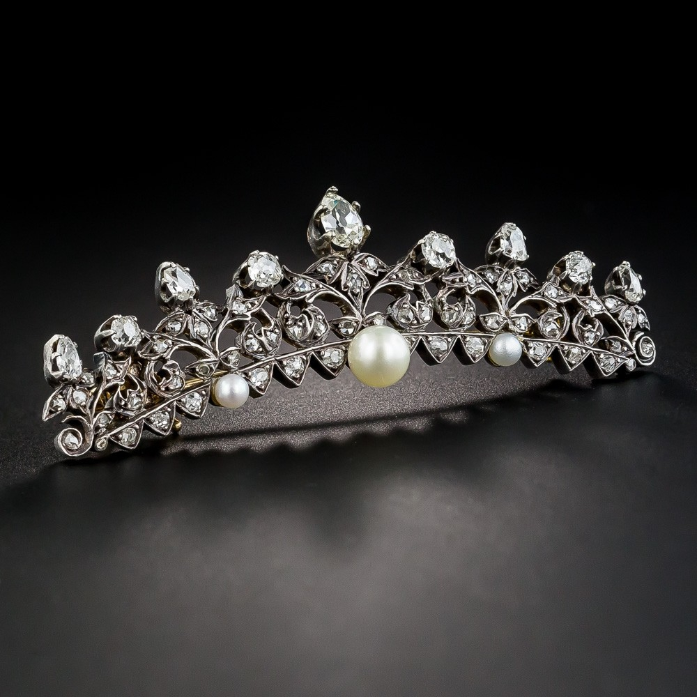 Victorian Diamond and Pearl Tiara Pin