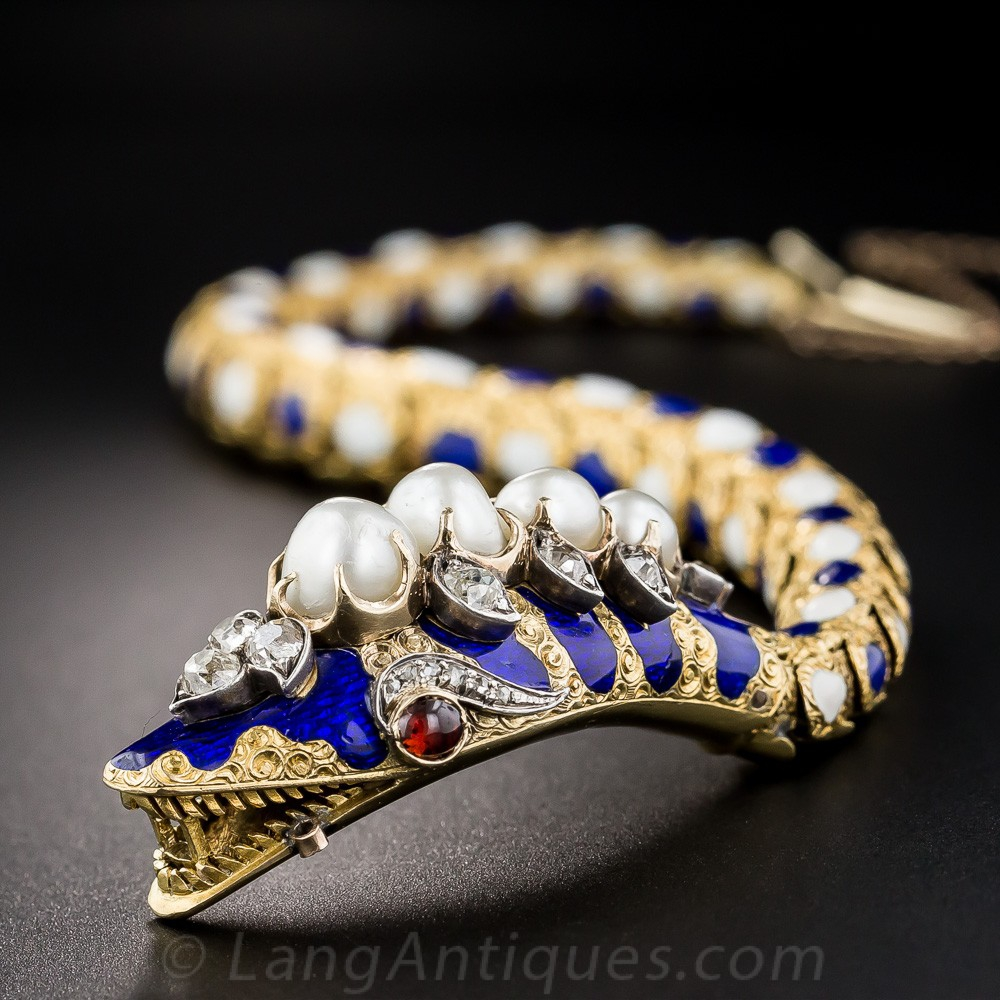 Victorian Enamel, Diamond and Natural Pearl Snake Bracelet