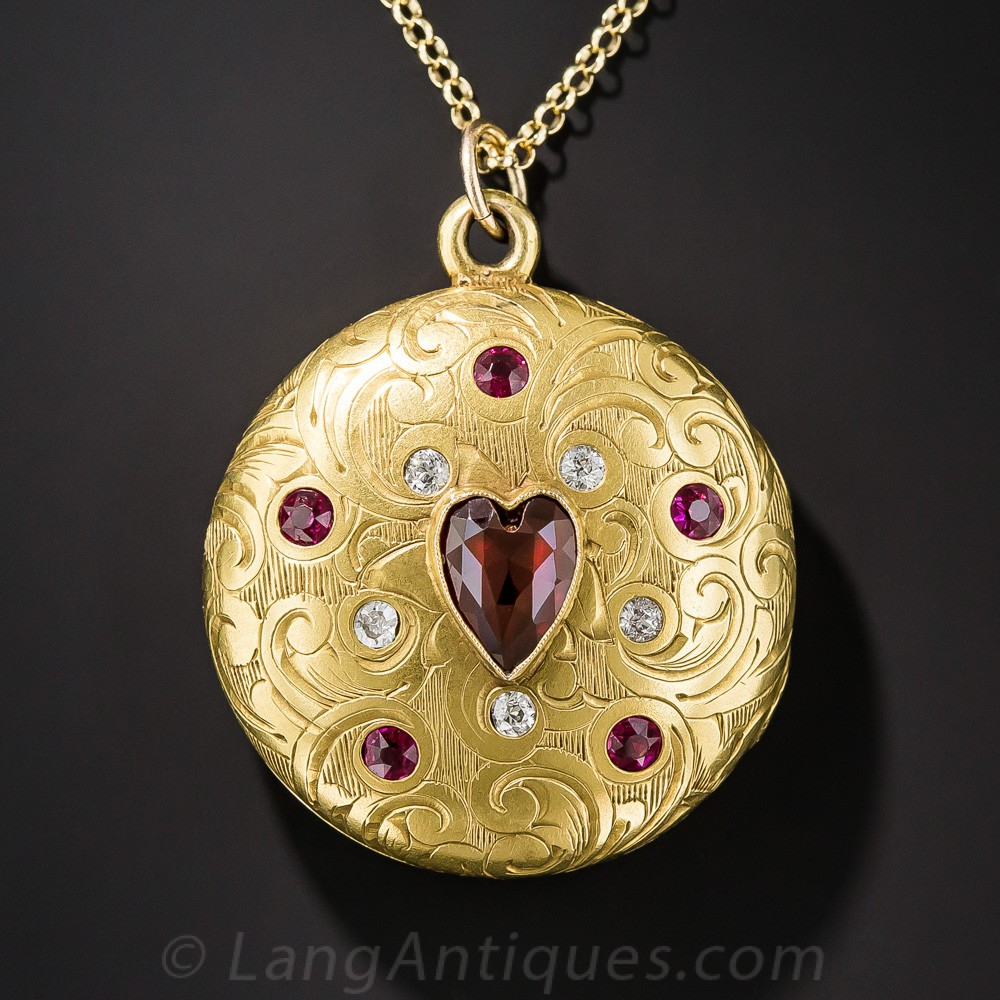 Victorian Garnet, Ruby and Diamond Locket