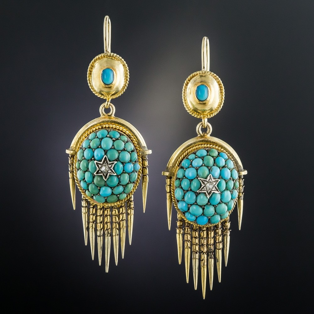 Victorian Turquoise Pave Drop Earrings