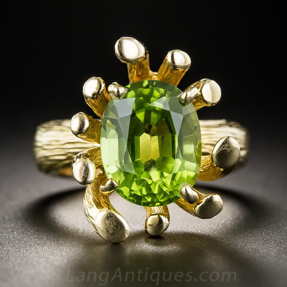 1960s Free Form Peridot Ring