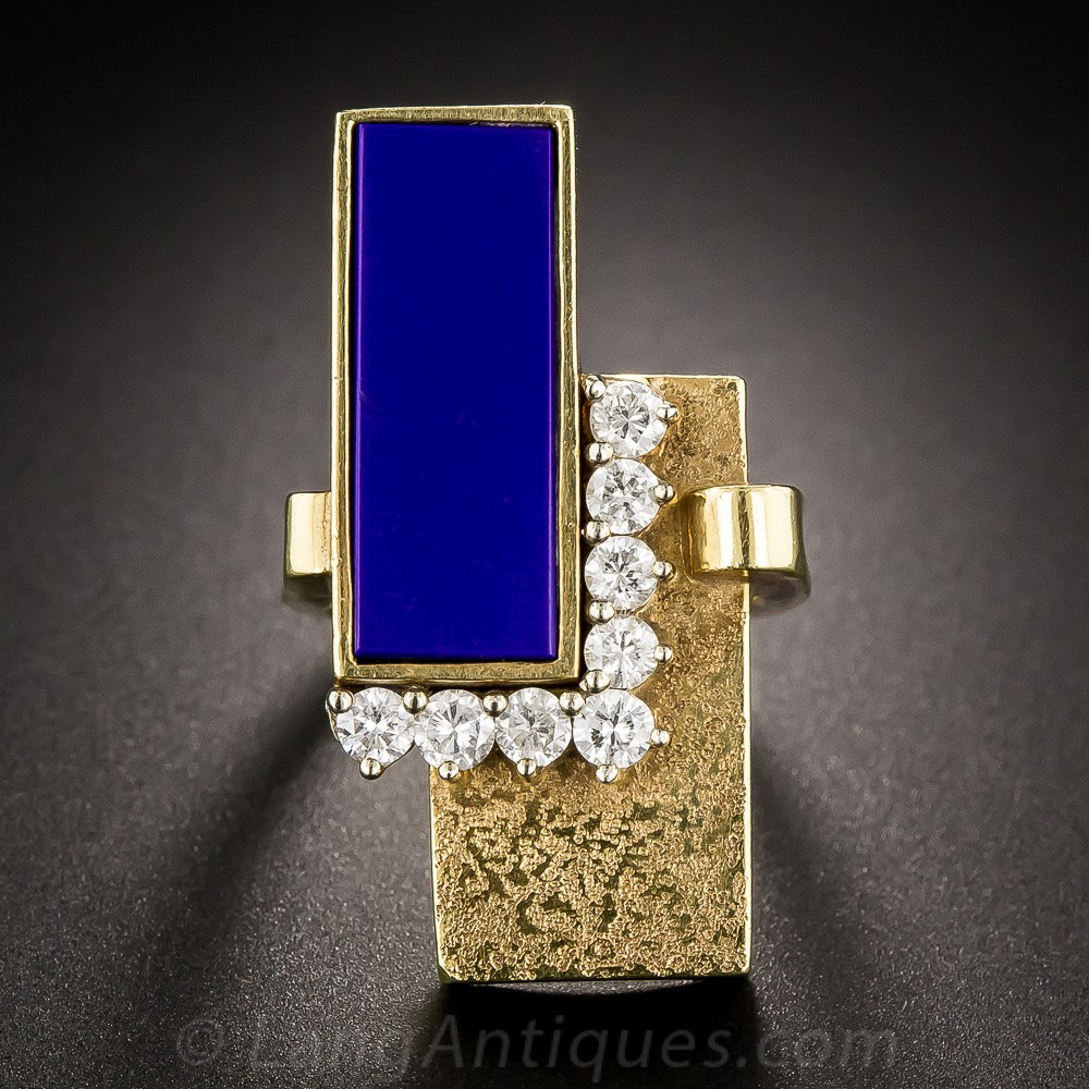 1960s Lapis and Diamond Moderne Ring
