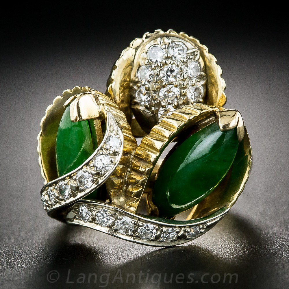 1960s Natural Burmese Jade and Diamond Cocktail Ring