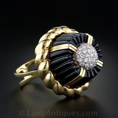 Black Onyx and Diamond Fashion Ring