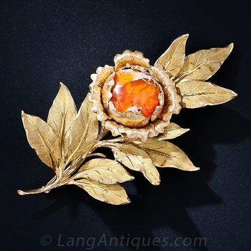 Buccellati Mexican Opal Leaf Brooch