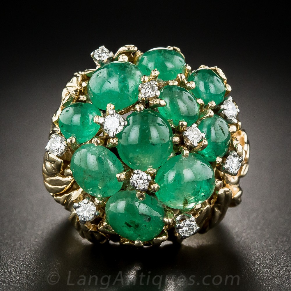 Cabochon Emerald and Diamond Cocktail Ring