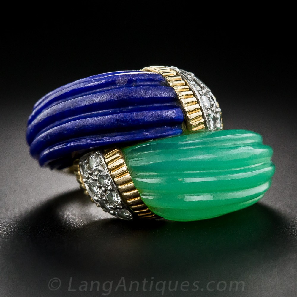 Chrysoprase and Lapis Bypass Ring