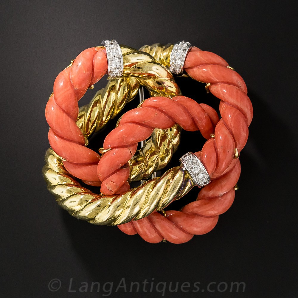 Coral and Gold Knot Brooch
