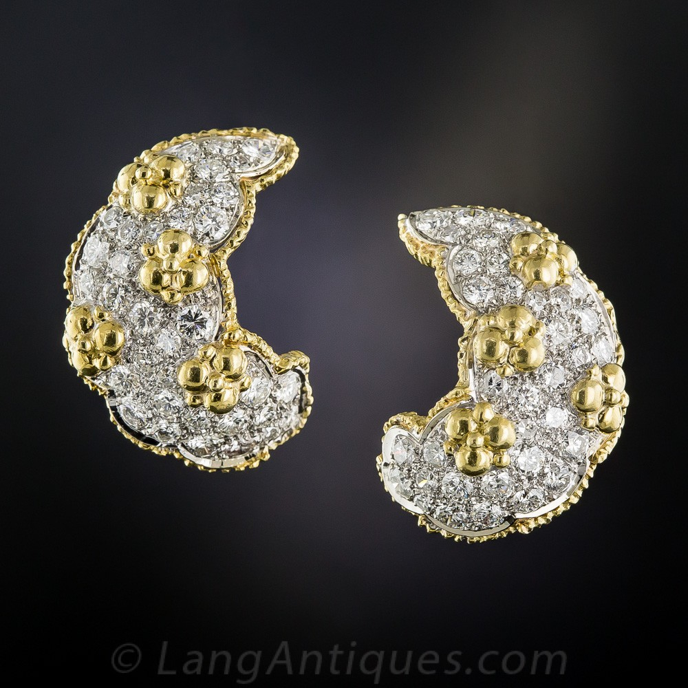 Platinum, Diamond, and 18k Gold Ear Clips