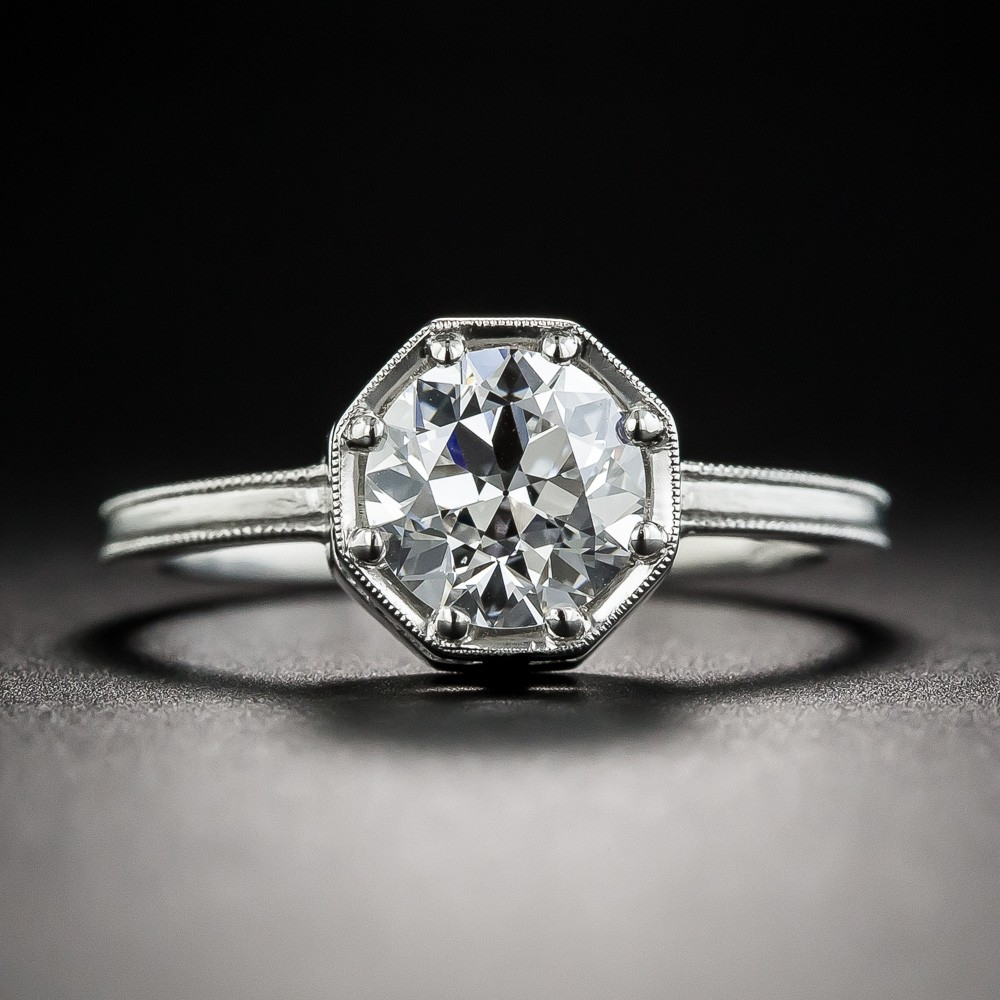 1.23 Carat European-Cut Diamond Ring by Lang