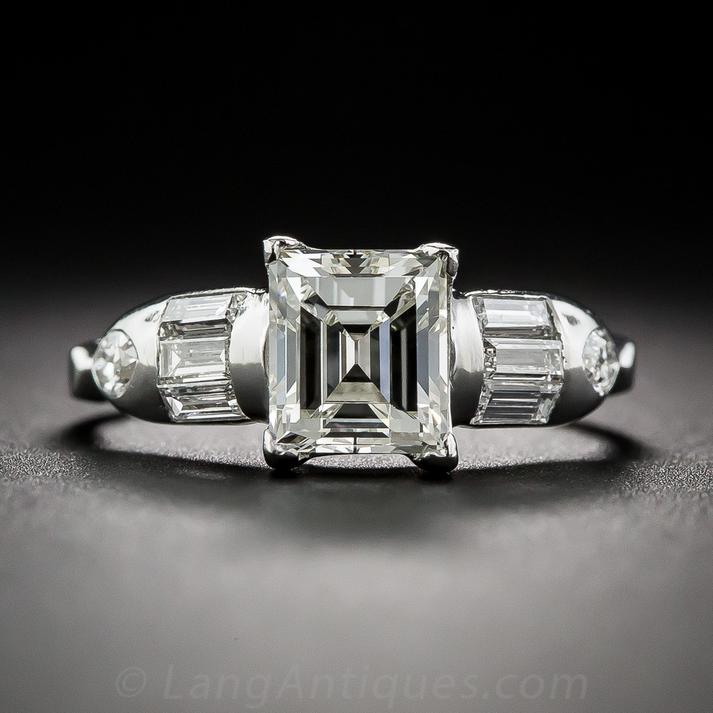 1.31 Carat Step-Cut Art Deco Engagement Ring