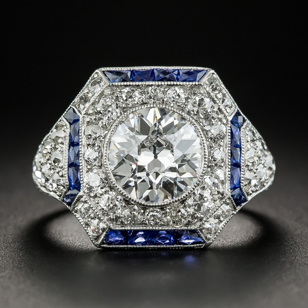 1.81 Carat Art Deco Ring with Calibre Sapphires