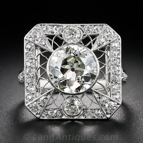 3.46 Carat Edwardian Carré (Square-Cut) Diamond Ring