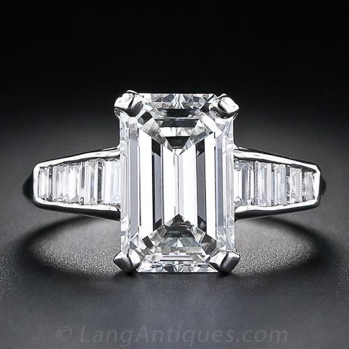 3.18 Carat Emerald-Cut Diamond Ring