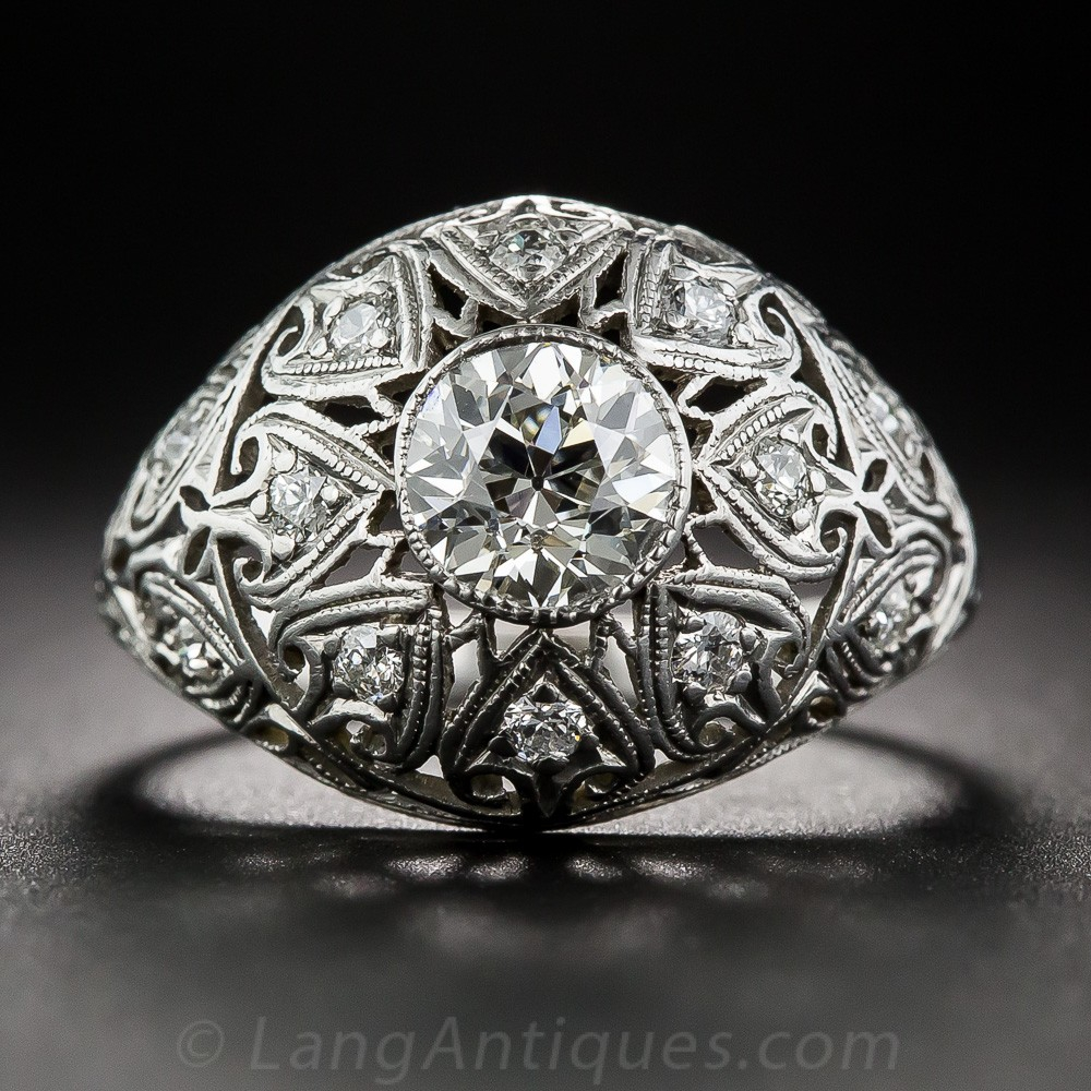 Edwardian .80 Carat Diamond and Platinum Engagement Ring