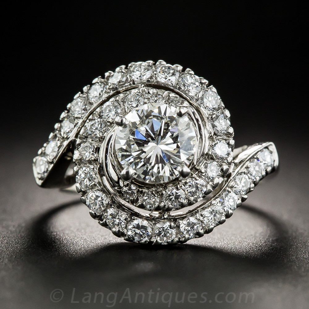 Mid-Century .98 Carat Diamond Swirl Cluster Ring