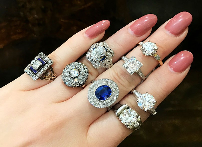 Assortment of vintage engagement rings