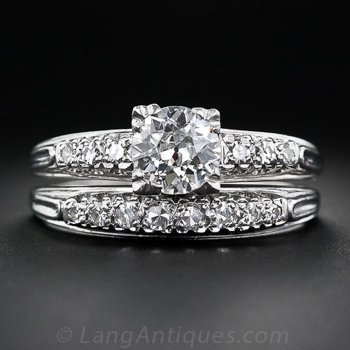 Mid-Century platinum and diamond wedding set engagement rings