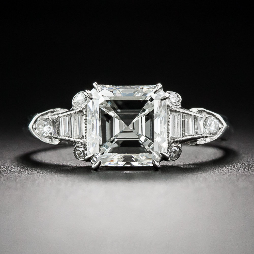 Art Deco square cut engagement ring