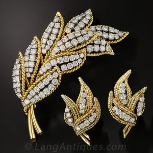 Mid-Century Diamond Leaf Brooch and Earrings