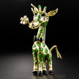 Enamel and Diamond Giraffe Brooch