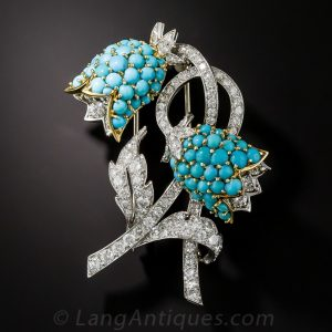 Diamond and Turquoise Platinum Bellflower Brooch,