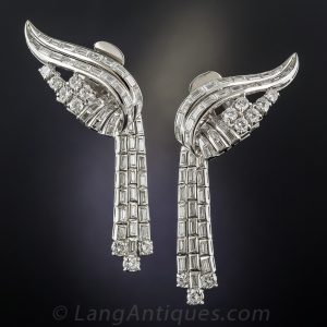 Diamond Day-Night Earrings with Baguette Cascade.