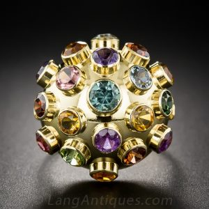 Gemstone 18K Yellow Gold Bombe 'Sputnik' Ring