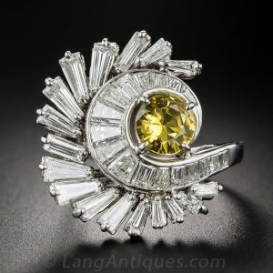 Yellow Sapphire and Diamond Cocktail Ring