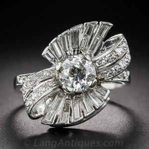 Bow Motif Diamond Ring, c.1950s.