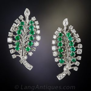 Stylized Emerald and Diamond Leaf Motif Earrings.