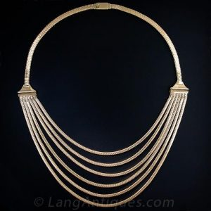 Yellow Gold Spaghetti Necklace.